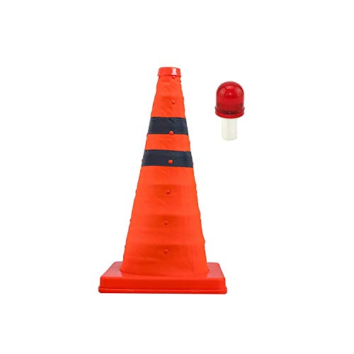 (2-Pack) 18'' Collapsible Traffic Cone with LED Light Lamp Topper, Reflective Multi-Purpose Extendable Road Safety Cone by LifeSupplyUSA