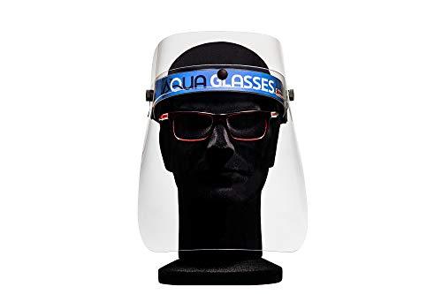 AQUA GLASSES Visiera Protettiva Massima Trasparenza in PETG Classe 1 Marchio CE Archetto regolabile Resistente a Saliva Schizzi di Liquidi per Attività Quotidiane e Lavoro. MADE IN ITALY