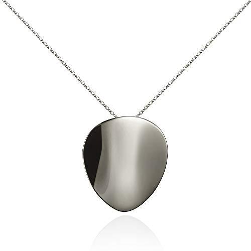 namana Großer Spiegel-Anhänger mit Halskette für Damen. Designer Stahl-Kette für Frauen. Statement Halskette mit Geschenkbox
