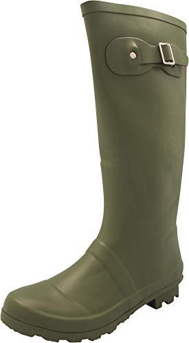 NORTY - Womens Hurricane Wellie Solid Matte Hi-Calf Rain Boot, Olive 40709-8B(M) US