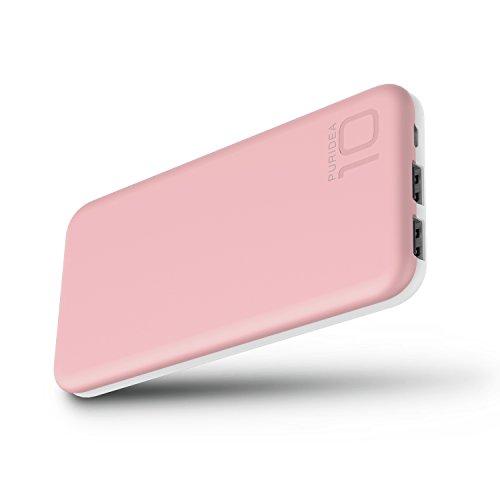 10000 mAh Batería Externa, 2 Puertos COOODI Cargador Móvil Power Bank Portátil para iPhone, iPad, Samsung y Otros Dispositivos, Rosa