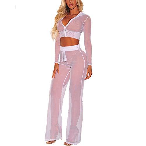 Damen Perspektive Langarmanzug, Halb-transparent Body Langärmelige Kleidung Set, sexy Reisverschluss Dessous Unterwäsche,Erotic Lingerie