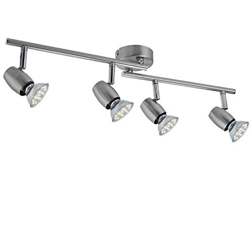SEESEER LED Deckenleuchte, Schwenkbar,LED Deckenstrahler, 4- Flammig, inkl. 4 x 3W GU10 LED Leuchtmittel, 280LM,Warmweiß Lichtfarbe, Spotbalken, Deckenlampe, Deckenspot