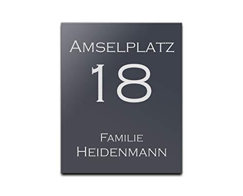 Edles Türschild Schild mit Gravur + Motive Hausnummer Namensschild 20x25 cm