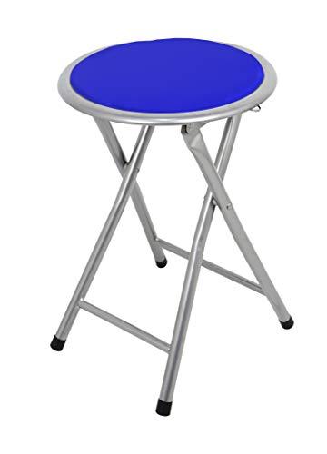 La Chaise Spola Palma, inklapbare kruk, gevoerd, aluminium, blauw, 30 x 30 x 45 cm