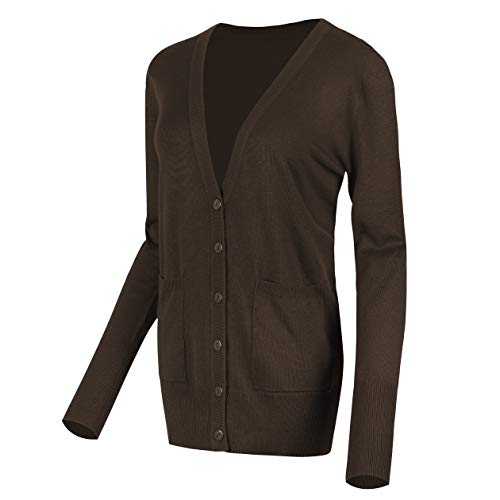 Urban CoCo Women's Long Sleeve Button Down Basic Cardigan Sweater (M, Coffee)