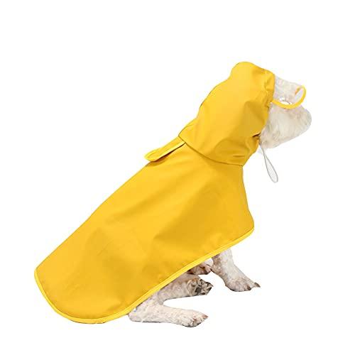 Ropa de Poncho Impermeable para Perro Mascota,Ultraligero Chaqueta Impermeable Capa de Lluvia Chubasquero con Borde Transparente con cordón Ajustable para pequeño Medianas Perros Amarillo 6XL