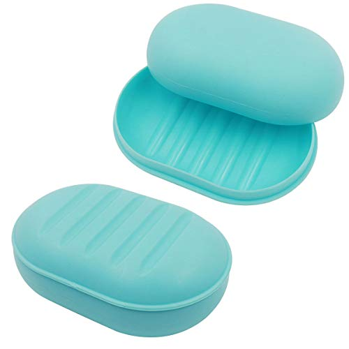 2 Pack Travel Soap Box, Soap Dish with Lid, Soap Holder with Drain, Soap Case Container for Shower, Bathroom, Kitchen (Blue Soap Box)