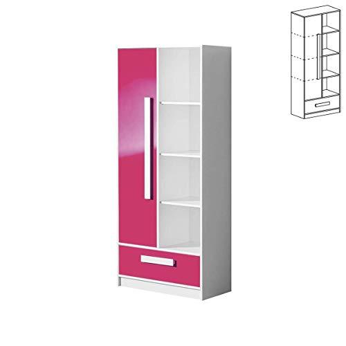 Furniture24 Regal mit Tür GULIVER 03 Schrank mit Schublade Hochschrank Bücherregal (Weiß/Rosa Hochglanz)