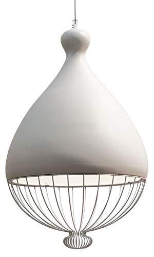 Le Trulle - Lampadario in ceramica bianco naturale, realizzato a mano in Italia, design moderno, lampadina E27, Ceramica, Ø 58cm / Höhe 91cm, E27 70.00W