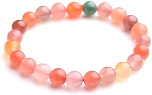 Pulsera Pulsera de cristal de ágata de colores naturales, piedras preciosas redondas, elásticas, curativas, los hombres y las mujeres pueden traer regalos de la suerte 8 mm (tamaño: 10 mm) -10 mm