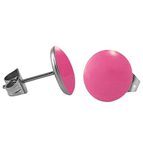 Mein-Ohrstecker Chirurgenstahl Emaille Ohrringe Edelstahl Farbe Pink, Größe 8 mm
