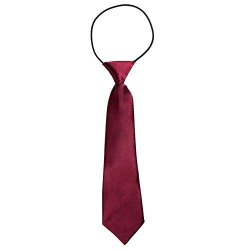 DonDon® Jungen Krawatte Kinder Krawatte im Seidenlook glänzend – 7,0 cm breit – mit elastischem Gummiband - Bordeaux Dunkelrot