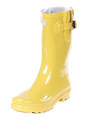 Forever Young Women Mid-Calf Yellow Rubber Rain Boot, 6