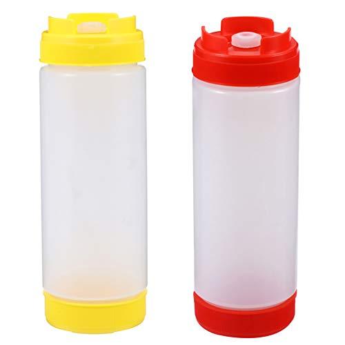BESTonZON 2Pcs Würze Flaschen Ketchup Squeeze Flasche Kunststoff Sauce Squeeze Flaschen für Saucen Ketchup BBQ Saucen Sirup Gewürze Dressings
