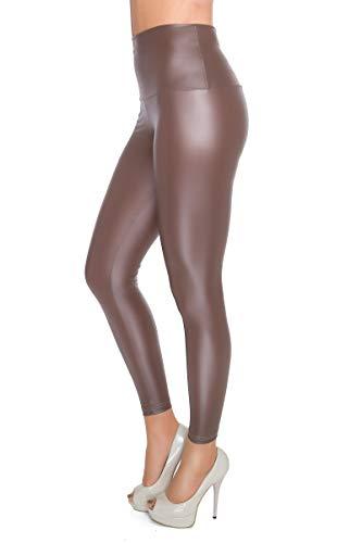FUTURO FASHION - Knöchellange Leggings mit hohem Bund - sexy Latex-Lederimitat - matt & glänzender Wet-Look - Cappuccino - 36