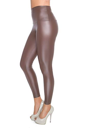 FUTURO FASHION - Knöchellange Leggings mit hohem Bund - sexy Latex-Lederimitat - matt & glänzender Wet-Look - Cappuccino - 40
