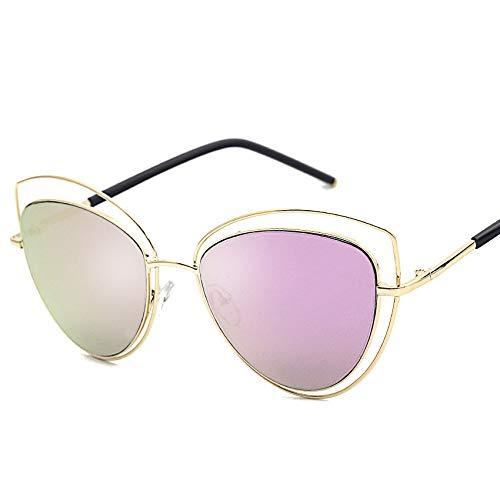 Glqwe Klassieke Zonnebril, Persoonlijkheid Kat Oog Zonnebril Metalen Stofzuiger Kleurfilm Zonnebril UV Bescherming