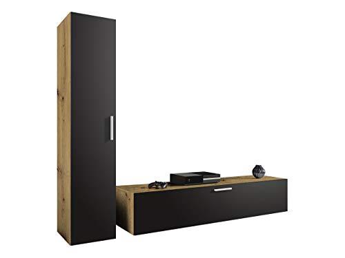 Wohnwand Tarok Anbauwand, TV Lowboard + Hängeschrank, Metall Griffe, Wohnzimmer Set, Wohnzimmerschrank für TV, Mediawand, Schrankwand (Eiche Artisan/Graphit)