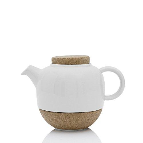 Designer Tee-Kanne aus Porzellan, weiß mit Kork-Deckel und Nicht tropfenden Ausguss, 0.8 Liter