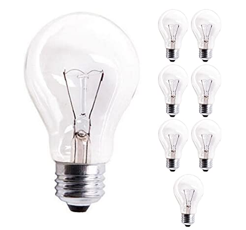 Sterl Lighting - Pack of 8 A19 Standard Household Crystal Clear Incandescent Rough Service Light Bulb 60A19/CL with 60 Watt - E26 Medium Base - 620 Lumens - Warm White 2700K, 1500 Life Hours Dimmable