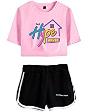 Huacaiyu Charli D'Amelio T-Shirts y Pantalones Cortos Deportivos Sets para Mujer, Hype House Camisetas y Pantalones Conjuntos Deportivos para Niñas XS-XXL