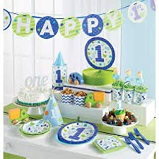 First(1st) Birthday Boy Party Supplies Decorations Kit- Includes Dinner & Dessert Plates, Napkins,Silverware,Tablecloth for 16 Guests Banner, Centerpiece & Hanging Cutouts
