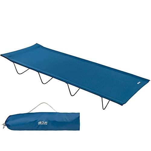 Aktive 52859 - Tumbona plegable, cama plegable camping, tumbona playa, tumbona plegable exterior, hamaca jardín, tumbona resistente, azul marino, 100Kg, 180x60x18 cm