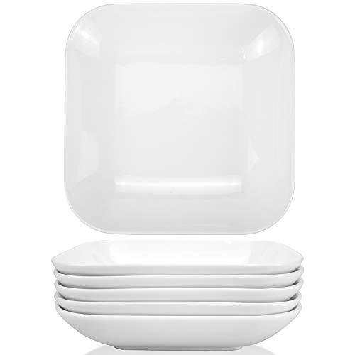 Foraineam 6 Pack 8 Inch 22 Ounce Porcelain Square Salad Pasta Bowls Deep Soup Plates