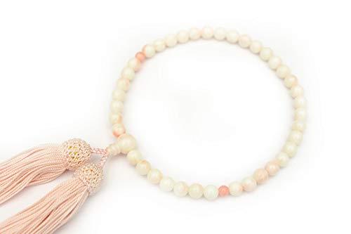 【ひるた仏具店】 数珠 念珠 女性用 珊瑚(サンゴ) 数珠袋付き 片手念珠 (親珠 珊瑚:9.5ミリ)