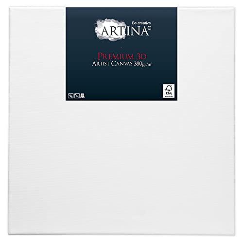 Artina 80x80cm Leinwand aus 100% Baumwolle auf stabilem Keilrahmen in 3D Premium Qualität - Weiß vorgrundiert 380g/m²