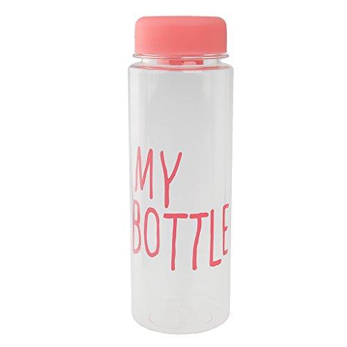 500ml Wiederverwendbare Trinkflasche Kunststoff Sportflasche Trinkflasche Bottle Saft Frucht Milch Tasse Hand Flasche mit Tasche - Rosa