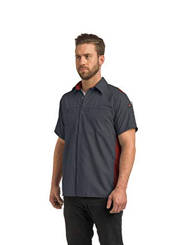 Red Kap Men's Short Sleeve Performance Plus Shop Shirt with OilBlok Technology, Light Grey/Charcoal Mesh, 4X-Large