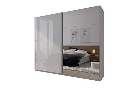 LINA I Kleiderschrank 244 cm mit Spiegel Schwebetürenschrank Schrank Komplett Set Weiß Hochglanz Spiegel Schlafzimmer (244)