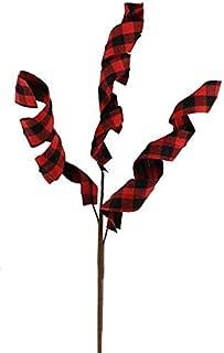 15 Inch Swirled Check Ribbon Pick - Red, Black (Set of 2)