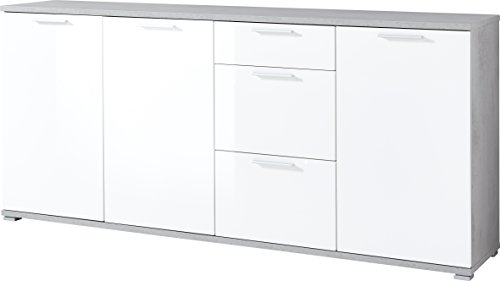Germania Sideboard GW-Almeria | In Beton-optik und Weiß | 192 x 88 x 40 cm