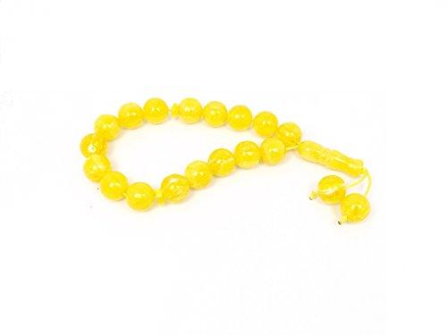 Remi Bijou Gebetskette - Tesbih Tasbih Tespih Misbaha Subha 17 Perlen - Gelb Bernstein Farbe