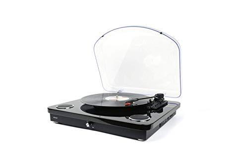 Denver VPL-210 Plattenspieler mit Lautsprechern, Bluetooth und MP3 Digitalisierung, Schwarz, 5706751052125