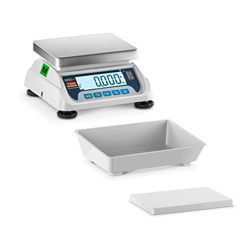 TEM Balance De Table Cuisine Alimentaire Culinaire Ménage Industrielle Professionnelle TEKO+LCD06C-B1 (Calibrée, 20 g à 6 kg, ±2g, Plateau 25 x 27 cm, Autonomie 100h, Inox/ABS)