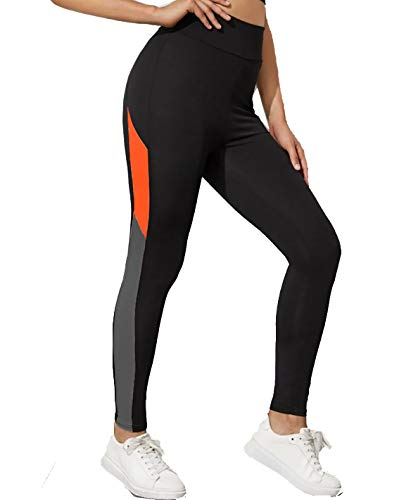 Neu Look Gym wear Leggings Ankle Length Workout Pants with Phone Pockets | Stretchable Tights | Mid Waist Sports Fitness Yoga Track Pants for Girls & Women (Black Neon Orange, Size - XL)