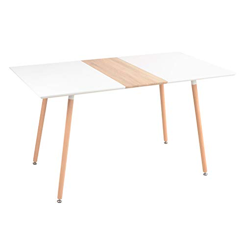 Yata Home - Mesa de comedor de madera moderna, mesa nórdica simple, patas de madera, 140 x 80 x 76 cm 🔥