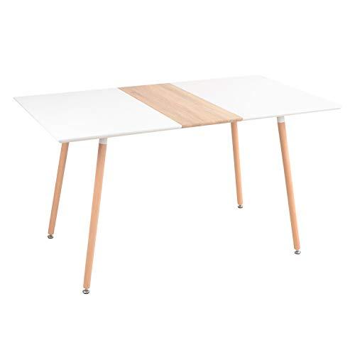 Yata Home - Mesa de comedor de madera moderna, mesa nórdica simple, patas de madera, 140 x 80 x 76 cm