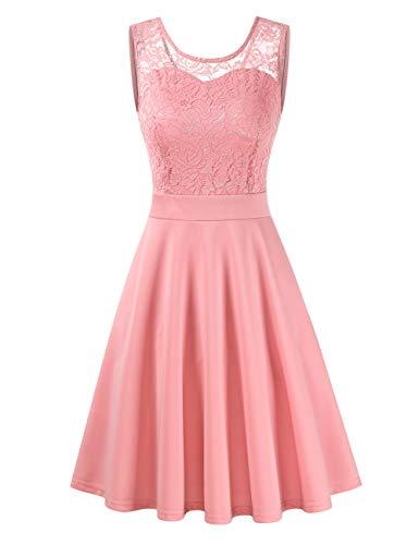 Clearlove Damen Kleider Elegant Spitzenkleid 3/4 Ärmel Cocktailkleid Rundhals Knielang Rockabilly Kleid(Verpackung MEHRWEG), Rosa, S