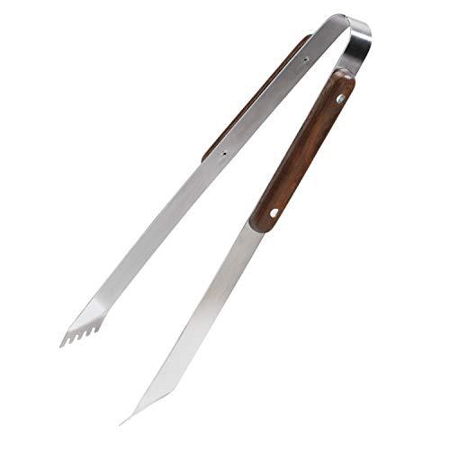 Uakeii Grillzange aus Edelstahl mit Holzgriff aus Massiven Birkenholz | Küchenzange 33cm | Gezackte Spitze für festen Griff
