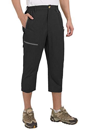 Mapamyumco Men's Quick Dry Lightweight 3/4 Capri Pants Casual Tactical Shorts for Hiking Climbing Travel Black XL