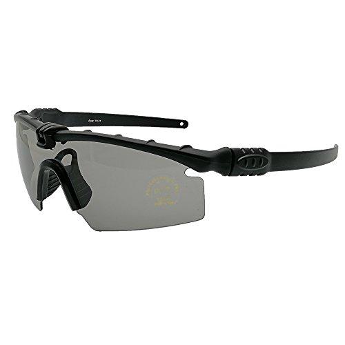 Gafas de Seguridad tácticas Profesionales balística polarizada M 3.0 photochrom UV400 Gafas Protectoras Montura de Tiro Gafas Deportes al Aire Libre Ciclismo Gafas Paintball (Negro,5 Lens)