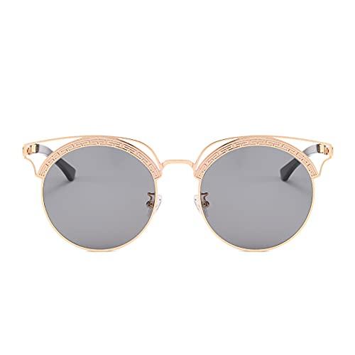 XINMAN Tendencia De La Moda Gafas De Sol De Montura Completa Grises Personalidad Montura Redonda Sombrilla Gafas De Sol Montura Dorada Película Gris