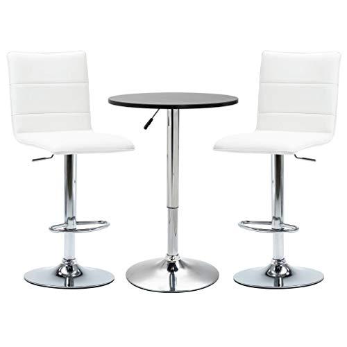 vidaXL 3 Piece Bar Set Pub Table and Chairs Bistro Furniture Counter Furniture Garden Restaurant Kitchen Faux Leather Black