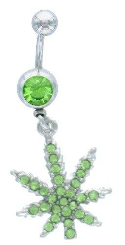 Belly Button Ring 316L Surgical Steel CZ Marijuana Navel Dangle