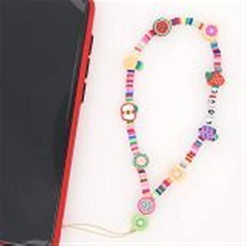 MRDUEWS Decoraciones del teléfono, Rainbow Smiley Face Lanyard Phone Charm, Teléfono con Cuentas Correa de muñeca de Lanyard, Llavero de decoración Anti Deslizamiento Pollo Pocket Holder (Color : C)